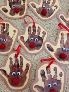 Hand print reindeer ornaments for the last week before winter break. This is a quick and easy craft to send home if you still need one!