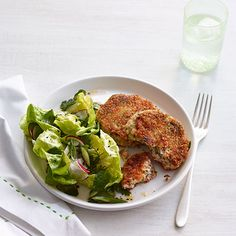 Salmon Cakes with Spring Green Salad  #myplate #protein #vegetables #grains