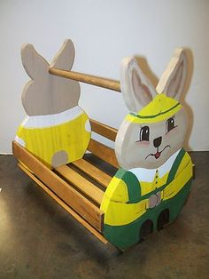 WOODEN HAND PAINTED BUNNY RABBIT BASKET - VINTAGE BASKET on eBay!