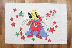 1967 Underdog Cartoon Graphic Pillowcase - Vintage 60s