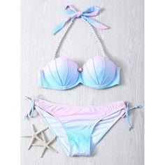 $16.47 Sweet Beaded Halter Neck Color Ombre Bikini Set