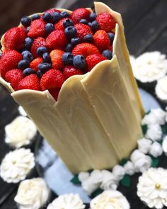 Double-Barreled Summer Fruits Cake with White Chocolate Shards