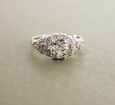 Antique Engagement Ring - Platinum and Diamond Ring