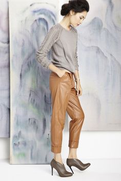 Sole Society - like this whole look. Star Fashion, Fashion Trends, International Style, Brown Booties, Swagg, Leather Pants, Grey Leather, Playing Dress Up, Passion For Fashion