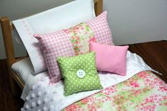 American Girl DOLL BEDDING - Pink and Green Floral, 18 inch doll bedding, doll comforters
