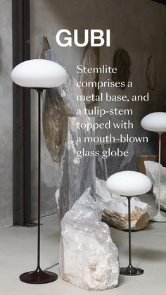 The Stemlite was the first 'total look' lamp, a pioneering new typology conceived by American Designer Bill Curry in 1962, which replaced the traditional base-plus-shade form with a single self-contained unit comprising interchangeable modules.