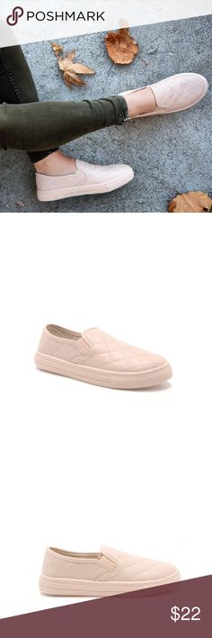 "✨JUST IN✨ NWT. Nude quilted sneaker ✨JUST IN✨ NWT. Nude quilted sneaker. This sporty slip-on features a leatherette upper with quilted design throughout, elastic insets on the sides, round toe and a white sole. Comfortable, stylish, and easy to wear. About 1 3/8"" heel. True to size. Sorry, no trades. Shoes Sneakers"