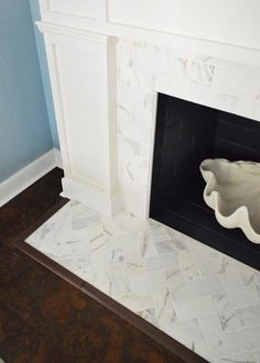 Chic meets Healthy: FIREPLACE HEARTH PT. 1 - HERRINGBONE MARBLE TILE HEARTH