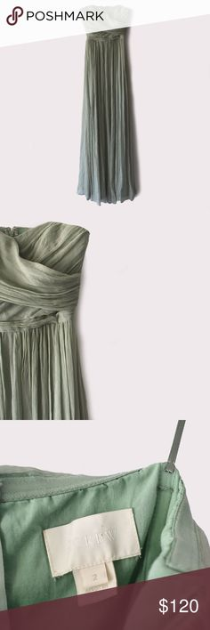J. Crew Arabelle Silk Chiffon Long Dress J. Crew | size 2 | a line silhouette | perfect condition | fitted bodice | back zipper | fully lined | all pictures taken by me product shown as is J. Crew Dresses Wedding