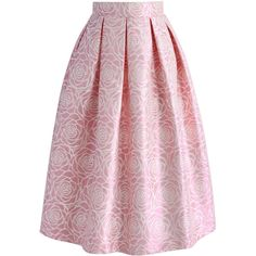 Chicwish Glossy Rose Jacquard Midi Skirt in Pink ($45) ❤ liked on Polyvore featuring skirts, pink, calf length skirts, box pleat skirt, pink knee length skirt, pink skirt and shiny skirt