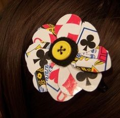 playing cards used to make flower hair clip