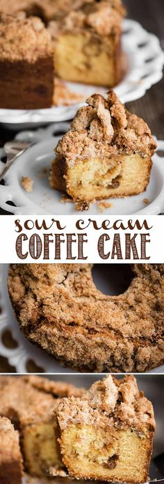 Sour Cream Coffee Cake, with a sweet and crunchy streusel topping and a cinnamon sugar layer in the middle, is the most delicious coffee cake recipe you'll find! This is the perfect sweet treat to make for entertaining or to bring to a breakfast get together with friends. The inside of the coffee cake is super moist! #coffeecake #coffeecakerecipe #sourcreamcoffeecake #pecans #cinnamon #sourcream #bundt #bestcoffeecake