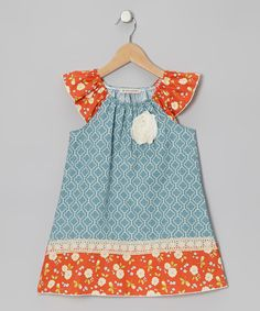Dusty Blue Angie Angel-Sleeve Dress - Toddler & Girls   Daily deals for moms, babies and kids