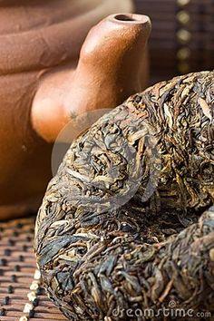 Photo about Disc Puer tea and ceramic teapot. Image of drink, black, ceremony - 33390641 Different Types Of Tea, Fermented Tea, Pu Erh Tea, Tea Culture, Tea Art, Chinese Tea, Ceramic Teapots, Best Tea, Drinking Tea