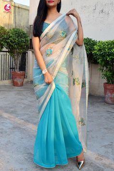 Buy Off White and Blue Tissue Georgette Half and Half Saree - Sarees Online in India Beautiful Prom Dresses, Beautiful Saree, Nice Dresses, Saree Dress, Sari, Sarees For Girls, Saree Models, Stylish Sarees, Saree Look