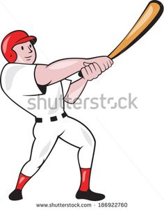 Illustration of an american baseball player batter hitter batting swinging bat done in cartoon style isolated on white background. #baseball #cartoon #illustration