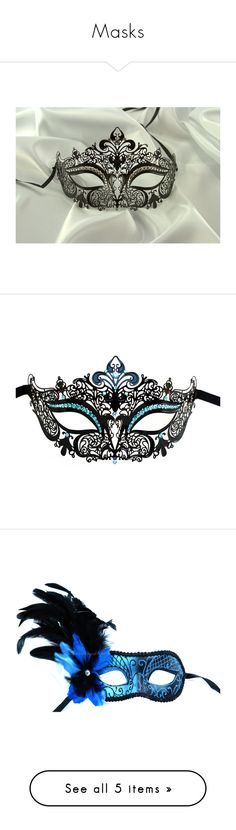 """Masks"" by drskullz ❤ liked on Polyvore featuring costumes, masks, accessories, other, mardi gras costumes, elegant costumes, masquerade halloween costume, sexy halloween costumes, ball costume and jewelry"