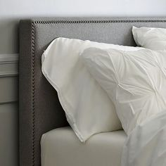 west elm offers modern furniture and home decor featuring inspiring designs and colors. Create a stylish space with home accessories from west elm. West Elm Headboard, Nailhead Headboard, Studded Headboard, Headboard Cover, Grey Headboard, Headboards For Beds, Upolstered Headboard, Nailhead Trim, Gray Bedroom