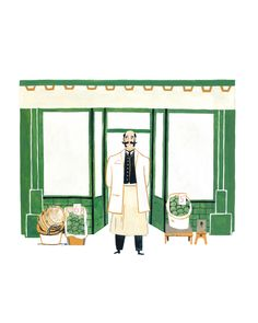 Victorian shopkeeper illustration in gouache painting. Gouache Painting, Norway, Illustrator, Victorian, Watercolor, Artwork, Books, Pictures, Pen And Wash