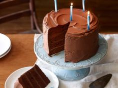Big Chocolate Birthday Cake - any recipe that includes 4 sticks of butter plus more for greasing is my kind of recipe :) Above And Beyond, Panda, Country Cooking, Chocolate Cakes, Birthday Candles, Food Network Recipes, Scones, Biscuits, Breads