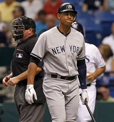GAME 80: Tuesday, July 3, 2012 - New York Yankees' Alex Rodriguez reacts after striking out in the first inning of a baseball game against the Tampa Bay Rays in St. Petersburg, Fla. The Rays won 7-4.