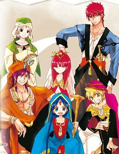 Magi: The Labyrinth of Magi-Unofficial outfits for Ja'far, Sinbad, Aladdin… Otaku, Anime Magi, Manga Anime, Anime Naruto, Awesome Anime, Anime Love, Magi Sinbad, Hakuryuu Ren, Magick