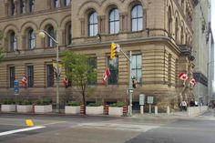 The new bollards and concrete planters around the Langevin Block, which houses the Prime Minister's Office, on Wellington Street in Ottawa.