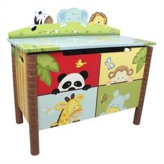 Fantasy Fields Hand Carved Sunny Safari Toy Chest