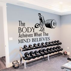 Wall Decals Quotes Sport The Body Achieves Gym Bedroom Decal Vinyl Decor DA3792 | eBay