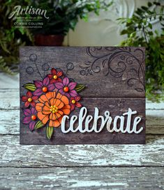 Falling Flowers stamp set with Wood Textures DSP by Connie Collins #GDP142