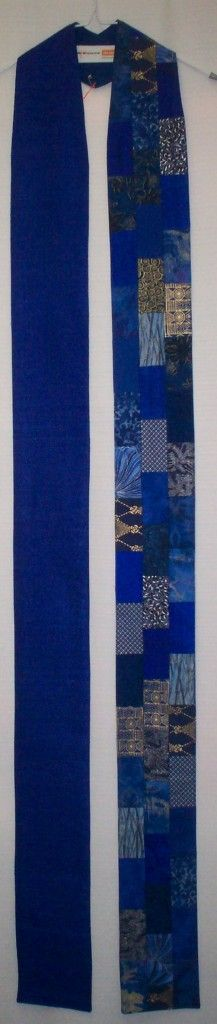 Blue Lystra clergy stole of silk matka and pieced cottons Banners, Indigo, Banner Ideas, Contemporary, Sewing, Fabric, Cotton, Blue, Fashion