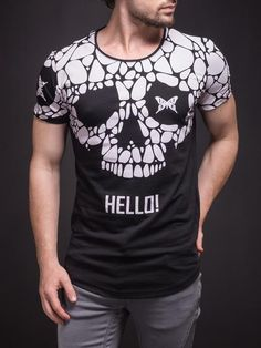 2Y Men Graphic Butterfly Skull Hello! T-Shirt - Black - FASH STOP