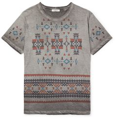 This <a href='http://www.mrporter.com/mens/Designers/Valentino'>Valentino</a> T-shirt is printed with a colourful geometric design inspired by the bold patterns of indigenous Central American cultures. It's garment-dyed grey, giving the lightweight cotton-jersey fabric a soft feel and unique mottled appearance. Wear it to pep-up your downtime looks.