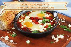 Shakshouka eggs with crumbled feta and bread rolls Bread Rolls, Feta, Vegetarian Recipes, Eggs, Dishes, Breakfast, Ethnic Recipes, Morning Coffee, Rolls
