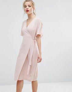 Платье миди с разрезами на рукавах и запахом New Look
