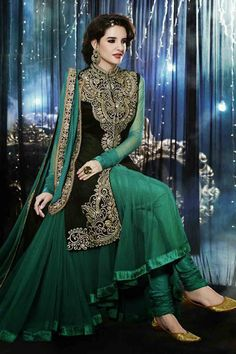 Look elegant with Green Velvet Anarkali Suit Shop now http://zohraa.com/green-velvet-anarkali-suit-z1529p7811e-4.html sku : 57158  Offer Price Rs. 4,849 #anarkali #anarkalisonline #suits #suitsonline