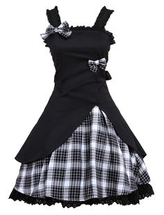 Hugme Classic Black Straps Neck Bow Cotton Lolita Jumper Skirt -- Read more at the picture link. (This is an affiliate link). Kawaii Fashion, Lolita Fashion, Gothic Fashion, Steampunk Fashion, Edgy Outfits, Cool Outfits, Fashion Outfits, Alternative Outfits, Alternative Fashion