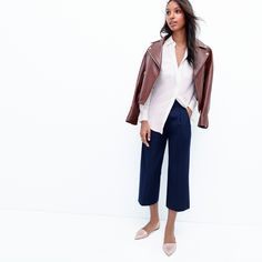 J.Crew Looks We Love: women's Collection leather motorcycle jacket, silk pocket blouse, Collection cropped wide-leg pant and Sloan mermaid glitter d'Orsay flats.