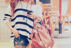 stripes & jeans shorts