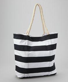 Look what I found on #zulily! Black Stripe Tote by Straw Studios #zulilyfinds 12.99