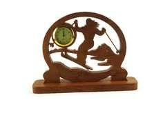 Female Ski Scene Desk Or Shelf Clock Handmade From by KevsKrafts