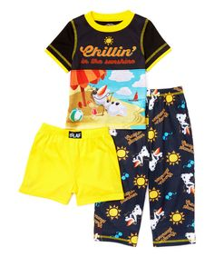 Look at this Black Frozen 'Chillin' Three-Piece Pajama Set - Toddler on #zulily today!