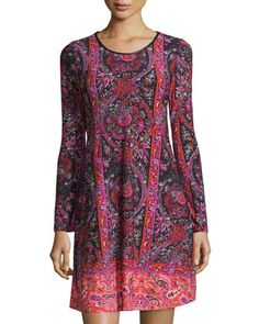 Paisley+Long-Sleeve+A-Line+Dress,+Coral/Pink+by+Neiman+Marcus+at+Neiman+Marcus+Last+Call.