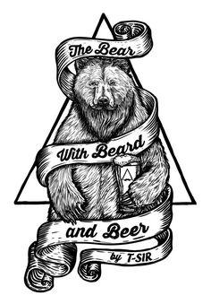 The Bear with Beard and Beer Art Print by tsir Illustration Vector, Vector Art, Bear Vector, Arte Indie, Bear Tattoos, Arrow Tattoos, Beer Art, Desenho Tattoo, Arte Pop