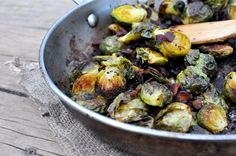 Roasted balsamic Brussels sprouts with bacon. My husband loved this side dish! Will make again !