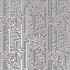 Bradbury Retro Designs | Art Deco Style Volute Wallpaper in Periwinkle