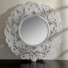 Round White Floral Mirror
