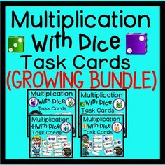 Multiplication with Dice Task Cards- (GROWING BUNDLE)* New set with multiplying by 6's added on Oct. 10* New set with multiplying by 4's added on Sept.27This is a GROWING BUNDLE of Multiplication task cards! There are currently 4 sets of task cards and each set has 24 task cards representing parts of a set!