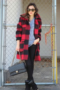 Buffalo plaid, comfy tee, Isabel Marant sneakers & Chanel = perfect casual outfit. All I need is the Buffalo jacket...Could do my black.