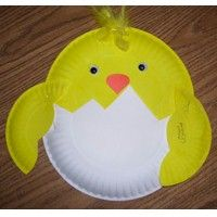 Paper Plate Chick Craft - Cute! Skip the painting step and just buy yellow paper plates.